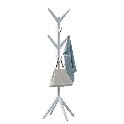 YXLAB Perchero de pie de Madera, 175 cm / 69 in * 45 cm / 17.8 in Disponible en Cuatro Colores (Color : Blanco)