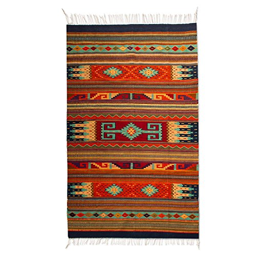 NOVICA Multicolor Wool Zapotec Flat-Weave Area Rug for sale  Delivered anywhere in USA