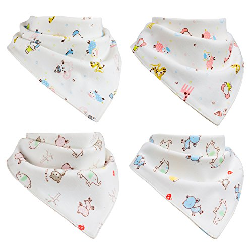 Baby Bandana Drool Bibs   100% Organic Cotton   Extremely Soft & Super-Absorbent   4-Pack Gift Set   Unisex  ...