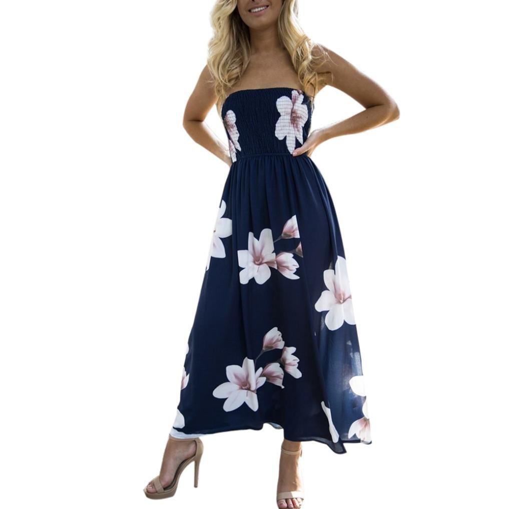 Fheaven Womens Off Shoulder Boho Dress Open Side Beach Summer Sundrss Long Maxi Dress (S, Navy)