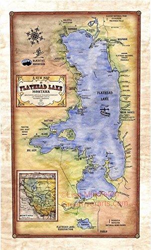 Amazon 040 flathead lake montana vintage historic antique map 040 flathead lake montana vintage historic antique map poster print gumiabroncs Choice Image