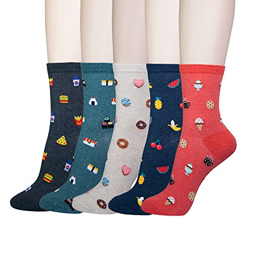 243bab2b5a YourFeet Women's 5 Pack Cotton Fun Food Sushi Pizza Designed Novelty Crew  Socks Gifts Size 6