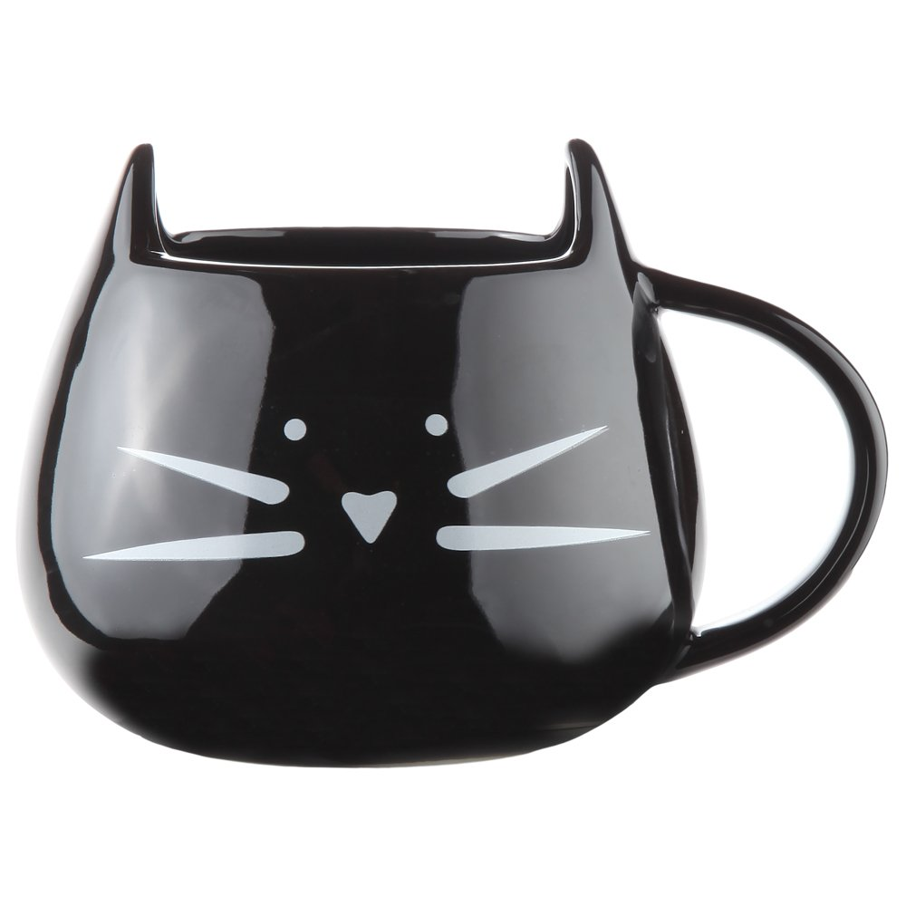 Home-X - Ceramic Cat Coffee and Tea Mug, The Perfectly Fun Kitchenware Gift for All Cat Lovers for Any Occasion at Any Meal, Black