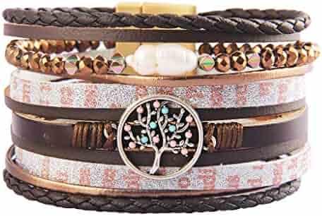 4174bebd2bd Jeilwiy Leather Wrap Bracelet Braided Cuff Bangle Tube Bracelet Charm Beads Boho  Jewelry for Women,
