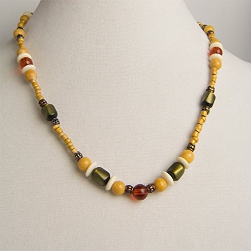 Olive Green Rectangles beads with Glass Amber Balls and Pumpkin Tan Stone Balls Necklace and Earring (Amber Earrings Mix)