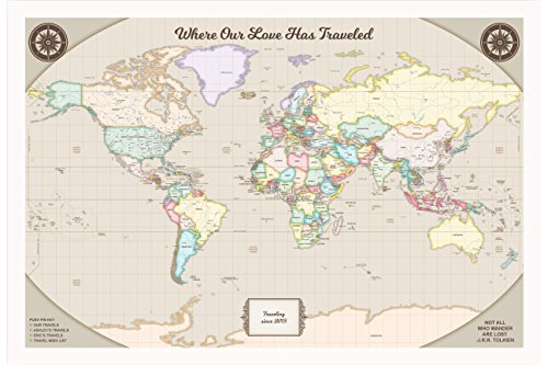 Personalized World Travel Map Pins - Customized Map with Whi