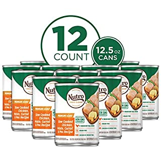 NUTRO PREMIUM LOAF Adult High Protein Natural Wet Dog Food Slow Cooked Chicken, Potato, Carrot & Pea Recipe, (12) 12.5 oz. Cans