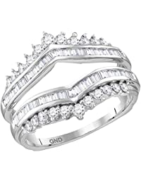0.13 Cttw, I-J Color, I2-I3 Clarity Wedding Guard Band Ring Stackable Band Contour Guard Ring Half Eternity Ring 14K White Gold 0.13 Cttw Diamond Curved Ring Curved Band Ring