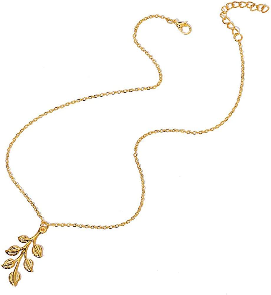 Retro Athena Olive Branch Pendant Necklace Leaf Hair Clip for Female Leaf Branch Hair Ornament Necklace Jewelry Set