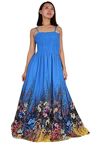 [MayriDress Maxi Dress On Sale Plus Size Clothing Party Gift Idea Wedding Guest (Large, Blue/ Colorful Floral)] (Maternity Fancy Dress Uk)
