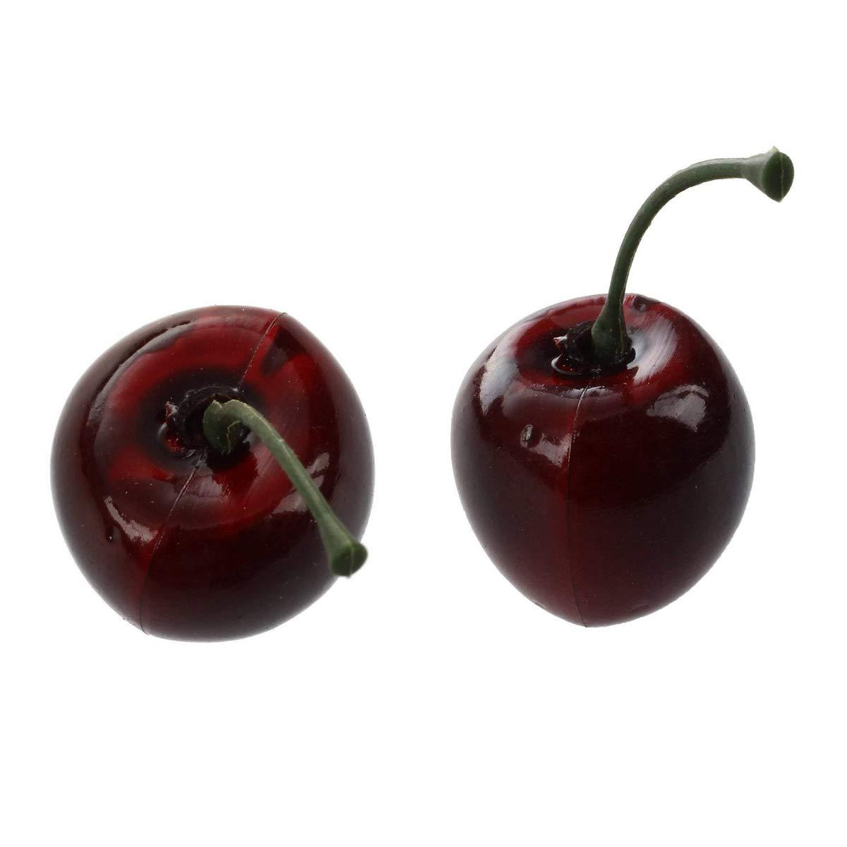 EQLEF/® 36 Pezzi artificiale ciliegia frutta artificiale decorativo plastica Plastic Food Cherry artificiale per la decorazione