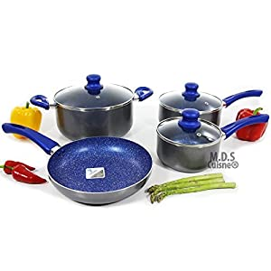 Cookware set 7 Pc Non Stick Blue marble Skillet Dutch Oven Fry Pan Sauce Pan