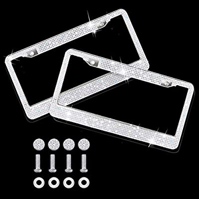 AILUKI Bling License Plate Frame, 2 Pack Bling White Crystal License Plate Frames with 2 Holes Bonus Screw Caps,Car License Plate Covers for US Vehicles/Truck: Automotive