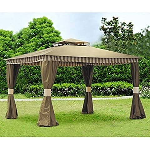 Sunjoy Banner Gazebo Party Canopy, Brown (First Up Screen Curtain)