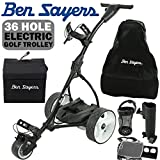 'NEW 2017' BEN SAYERS BLACK ELECTRIC GOLF TROLLEY + 36 HOLE BATTERY & CHARGER