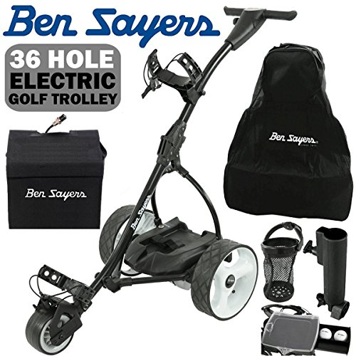 'NEW 2017' BEN SAYERS BLACK ELECTRIC GOLF TROLLEY + 36 HOLE BATTERY &...