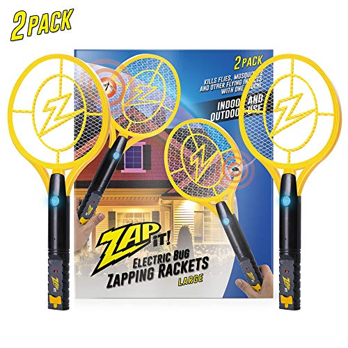 ZAP IT! Bug Zapper Twin Pack - Rechargeable Mosquito, Fly Killer and Bug Zapper Racket - 4,000 Volt - USB Charging, Super-Bright LED Light to Zap in The Dark - Safe to Touch … (Twin Large)