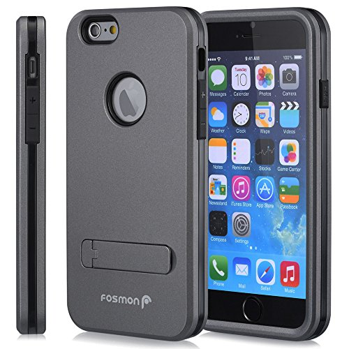 """Apple iPhone 6 Plus (5.5"""") Case - HYBO-ARMOR Hybrid Dual Layer Case Cover with Kick Stand for Apple iPhone 6 Plus (5.5"""") (Dark Gray)"""
