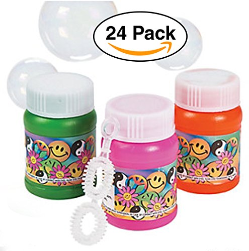 24 Pack Emoji / Smiley Mini Bubble Bottles. Assorted colors. Includes 1-oz. bottles of bubbles with folding wands. Mini for party Favors