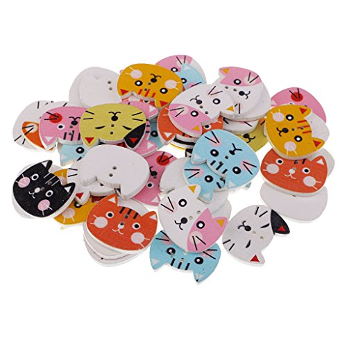 Fityle 約50個 DIYクラフト 縫製素材 可愛い猫形 木製ボタン おもちゃ/子供服 2穴付きボタンの商品画像