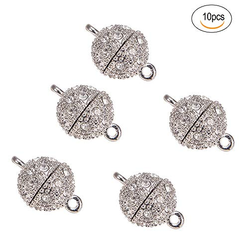 (10 Pcs Magnetic Jewelry Clasps,Rhinestone Ball Style,Metal Ball Magnetic Clasp,12mm Alloy Diamond Buckle.for Bracelet Necklace Jewelry. (Silver))