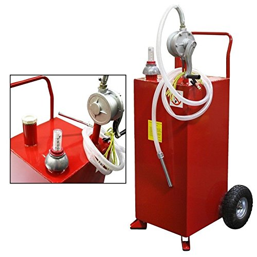 Stark 30 Gallon Gas Caddy Tank Gasoline Fluid Diesel Fuel Transfer Storage Dispenser with Pump, Red by Stark (Image #2)