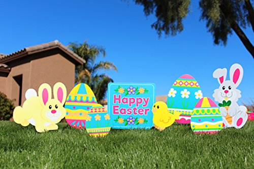(JOYIN 8 Pieces Easter Yard Signs Decorations Outdoor Bunny, Chick and Eggs Yard Stake Signs Easter Lawn Yard Decorations for Easter Hunt Game, Party Supplies DÈcor, Easter Props.)