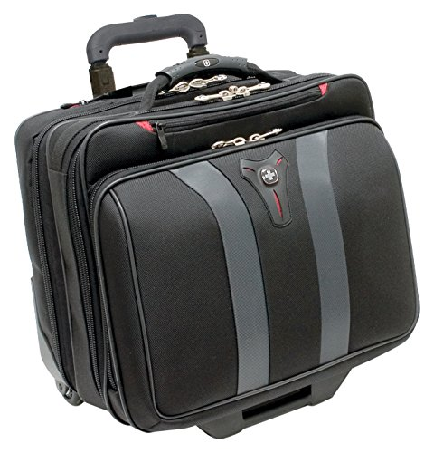 Business Laptop Overnight Case - Swissgear Granada Rolling Case Nylon for Upto 17-Inch Notebooks - Black