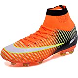 KAMIXIN Football Boots Men's High Top Soccer Training Shoes Kids Football Trainers Shoes Unisex Soccer Boots Boy's Football Cleats Soccer Shoes Orange UK7.5