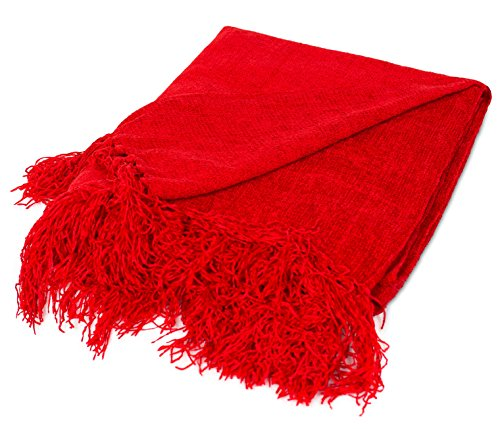 (BIRDROCK HOME Internet's Best Chenille Throw Blankets | Red | Ultra Soft Couch Blanket with Fringe | Light Weight Sofa Throw | 100% Microfiber Polyester | Easy Travel | Bed | 50 x 60)