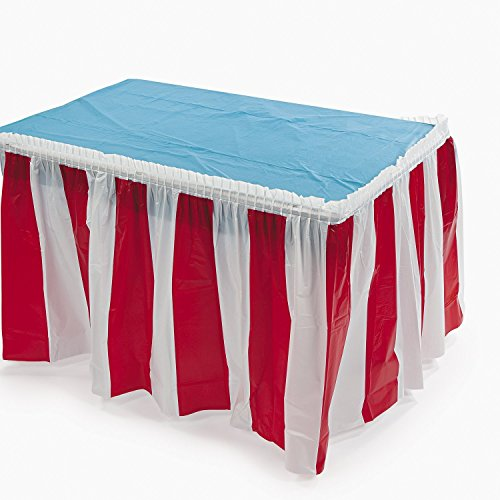 (Fun Express Striped Table Skirt, Red/White, 14 Feet x 29 Inches (Two-Pack))