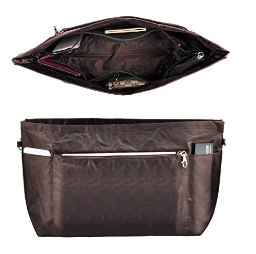 Vercord X-large Purse Organizer Insert Women Tote Handbag Liner with Zipper Organizador Coffee