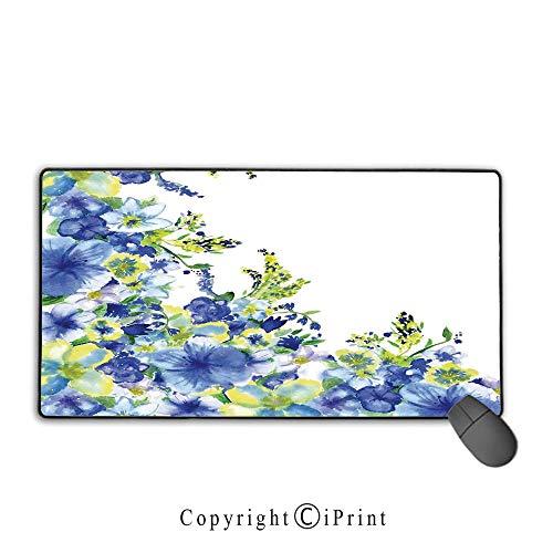 Stitched Edge Mouse pad,Watercolor Flower House Decor,Motley Floret Motifs with Splash Anemone Iris Revival Theme,Blue Yellow,Premium Textured Fabric, Non-Slip Rubber Base,15.8