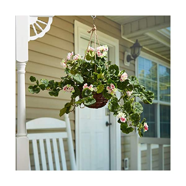 HOME Pure Garden Faux Flowers – Light Pink Geranium Hanging Natural and Lifelike Floral Arrangement with Basket Office