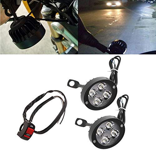 Transport-Accessories - 1Pair Universal 12-60V LED Motorcycle Fog Light Super Light Waterproof Motorcycle LED Headlight Locomotive Spotlight With Switch