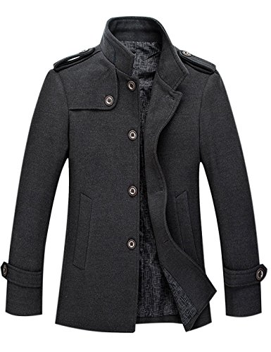 Tanming Men's Stylish Single Breasted Wool Blend Pea Coat Mutiple Colors (X-Large, Grey) - Button Cuff Wool Coat
