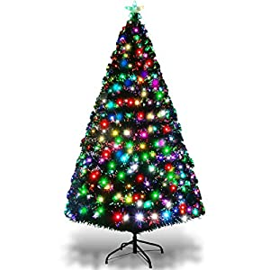 Goplus Pre-Lit Artificial Christmas Tree Optical Fiber 8 Flash Modes W/UL Certified Multicolored LED Lights & Metal Stand 29