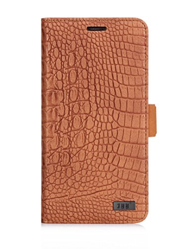S6 Edge Plus Case, FYY Premium PU Leather Wallet Flip Case Stand Cover for Samsung Galaxy S6 Edge Plus Light Brown