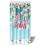 InterestPrint Let It Snow Shower Curtain, Electric Lights and Snow Abstract Sky and Clouds Fabric Bathroom Shower Curtain Set with Hooks, 36 X 72 Inches