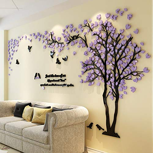 (Viet SC Living Room Decoration - 3D Tree Acrylic Mirror Wall Sticker Decals DIY Art TV Background Wall Poster Home Decoration Bedroom Living Room Wallstickers)