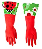 ladybug kitchen - Vigar Red Latex Gloves with Extended Ladybug Motif Cuff, 16-7/8-Inches Long