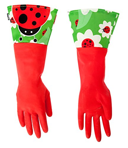 - Vigar Red Latex Gloves with Extended Ladybug Motif Cuff, 16-7/8-Inches Long