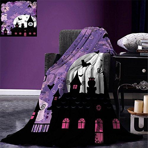 smallbeefly Vintage Halloween Lightweight Blanket Halloween Midnight Image with Bleak Background Ghosts Towers and Bats Digital Printing Blanket Purple Black ()