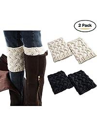 Women Boot Cuffs - Winter Knitted Boots Socks Crochet...
