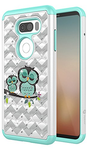LG V30 Case, Style4U [Shockproof] Cute Owl LG V30 Bling Studded Rhinestone Crystal Hybrid Armor Case Cover for LG V30 [White / Teal]