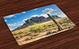 Ambesonne Saguaro Place Mats Set of 4, Famous Canyon Cliff with Dramatic Cloudy Sky Southwest Terrain Place Nature, Washable Fabric Placemats for Dining Room Kitchen Table Decor, Brown Green Blue