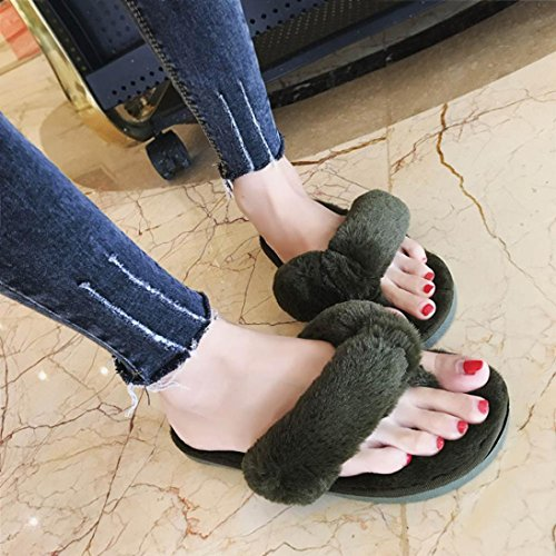 Fur Imitation Green WensLTD Casual Plush Flops Cute Slippers Creative Flip House Women's FEExw6atq