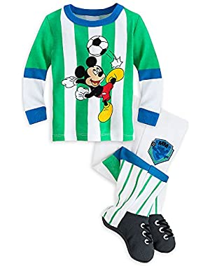 Disney Store Mickey Mouse Soccer Long Sleeve Footed PJ Pals Pajama for Baby Boys