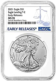 2021 Silver Eagle Type 2 Eagle Landing Reverse Early Release Blue Label Dollar MS70 NGC
