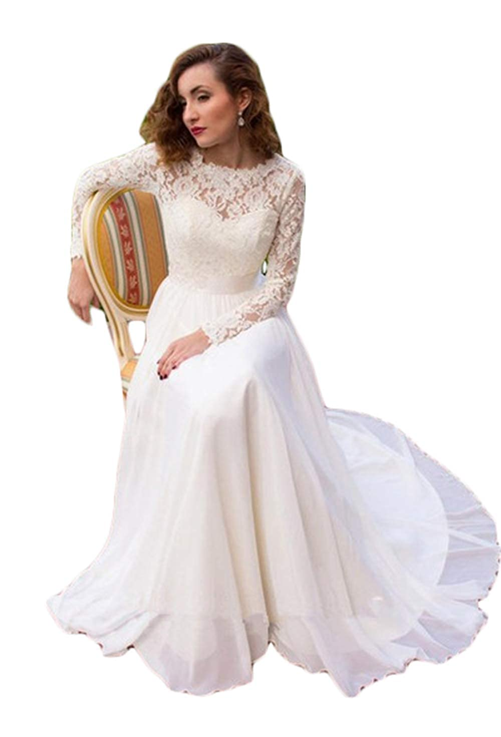 Ivory Women's Long Sleeve Lace Wedding Dresses Bridal Gown Beach Wedding Dresses for Bride 2019